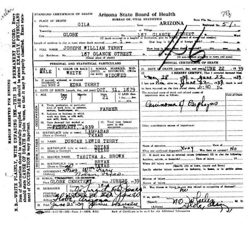 arizona death certificates, 1870 - 1963